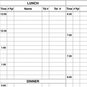 Economy Restaurant Reservation Book With Times